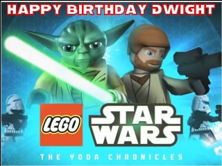 Stupendous A4 Lego Star Wars Yoda Chronicles Personalised Edible Icing Or Funny Birthday Cards Online Bapapcheapnameinfo